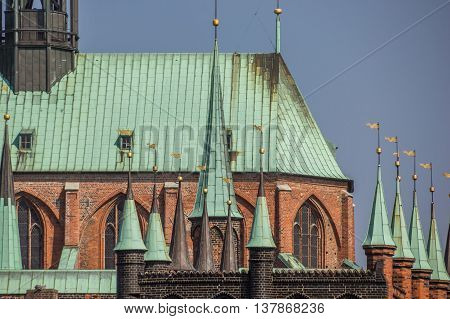 Detail of the Marienkirche in Lubeck Germany