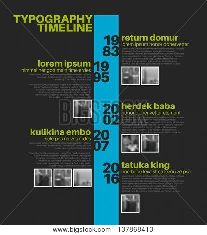 Vector Infographic typographic timeline report template with the biggest milestones, photos, years and description - dark blue and green template version