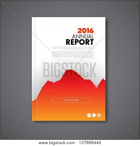 Modern Vector annual report review design template with big graph. Template of the report front page - cover illustration.