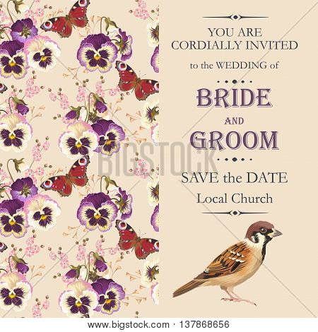 Vector wedding invitation with beautiful vintage pansies