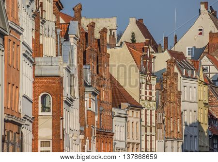 Historic buildings in the evening light in Lubeck Germany