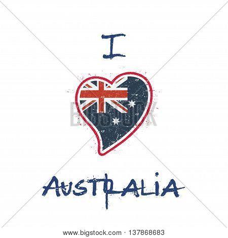 Australian Flag Patriotic T-shirt Design. Heart Shaped National Flag Australia On White Background.