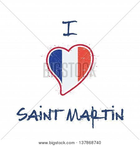 Saint Martin Islander Flag Patriotic T-shirt Design. Heart Shaped National Flag Saint Martin On Whit
