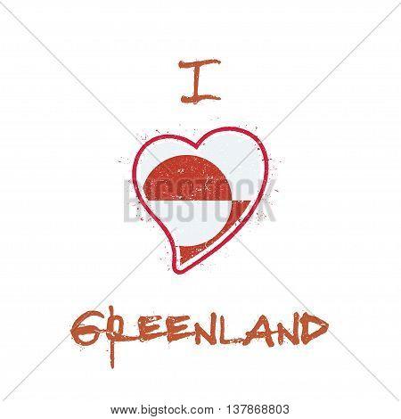 Greenlandic Flag Patriotic T-shirt Design. Heart Shaped National Flag Greenland On White Background.
