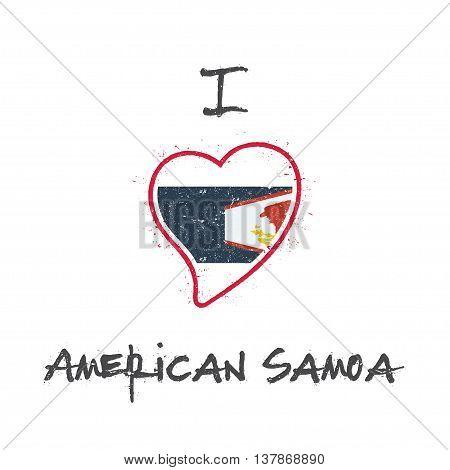 American Samoan Flag Patriotic T-shirt Design. Heart Shaped National Flag American Samoa On White Ba