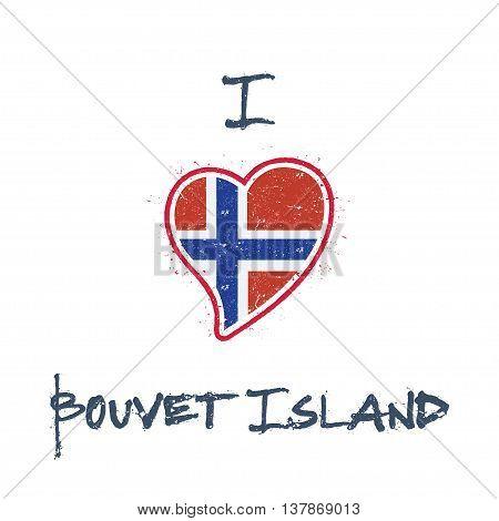 Bouvet Island Flag Patriotic T-shirt Design. Heart Shaped National Flag Bouvet Island On White Backg