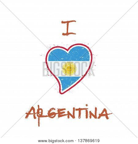 Argentinean Flag Patriotic T-shirt Design. Heart Shaped National Flag Argentina On White Background.