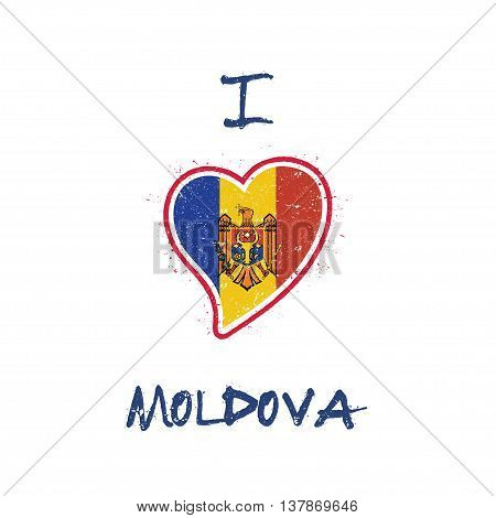 Moldovan Flag Patriotic T-shirt Design. Heart Shaped National Flag Moldova, Republic Of On White Bac