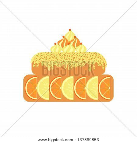 Citrus cake icon in flat style isolated on white background. Vector illustration