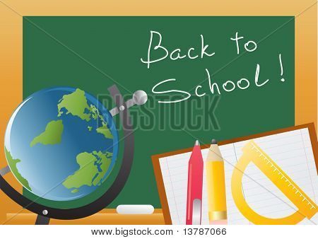 Vector illustration of backboard with globe and educational objects