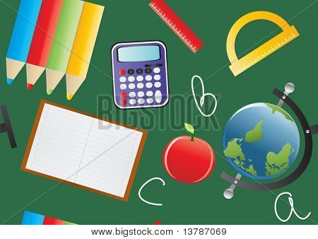 Vector illustration of education objects over blackboard