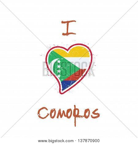 Comoran Flag Patriotic T-shirt Design. Heart Shaped National Flag Comoros On White Background. Vecto