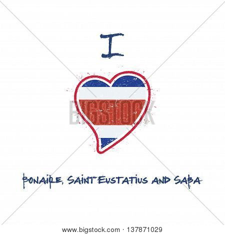 Dutch Flag Patriotic T-shirt Design. Heart Shaped National Flag Bonaire, Sint Eustatius And Saba On