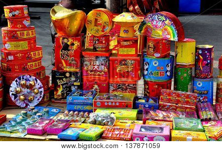 Jun Le China - January 25 2014: Roadside display of different fireworks on sale by a street vendor for the Chinese Lunar New Year holiday
