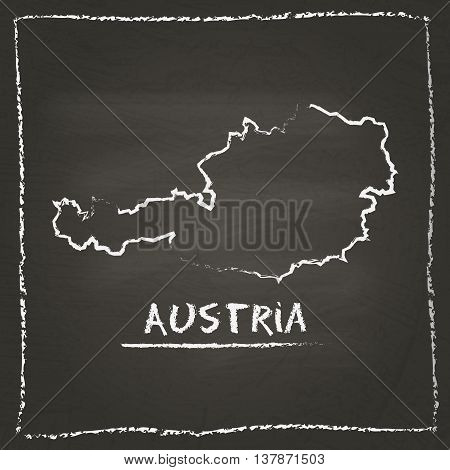 Austria Outline Vector Map Hand Drawn With Chalk On A Blackboard. Chalkboard Scribble In Childish St