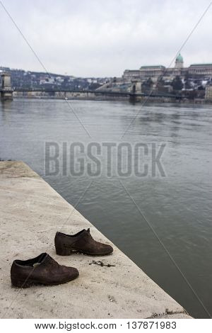 Shoes on the Danube Promenade in Budapest - memorial to the victims of the Holocaust