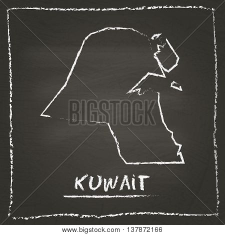 Kuwait Outline Vector Map Hand Drawn With Chalk On A Blackboard. Chalkboard Scribble In Childish Sty