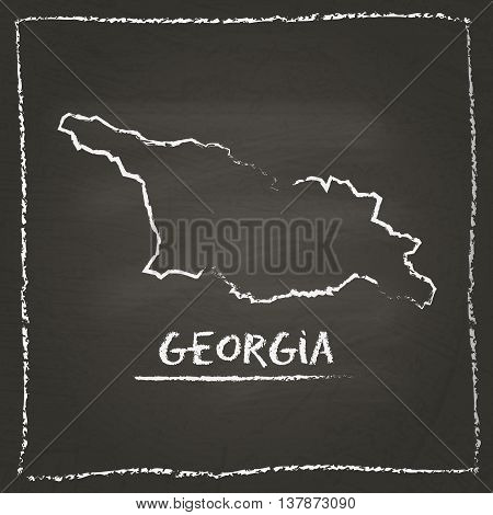 Georgia Outline Vector Map Hand Drawn With Chalk On A Blackboard. Chalkboard Scribble In Childish St