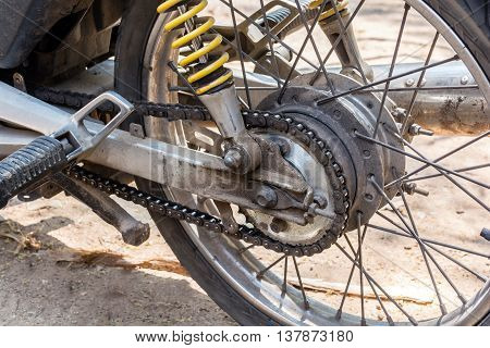 Motorcycle wheel and drive-chain with copy space