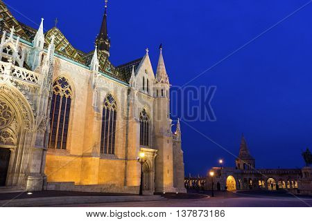 View on Matthias Church at Fisherman's Bastion in Budapest Hungary