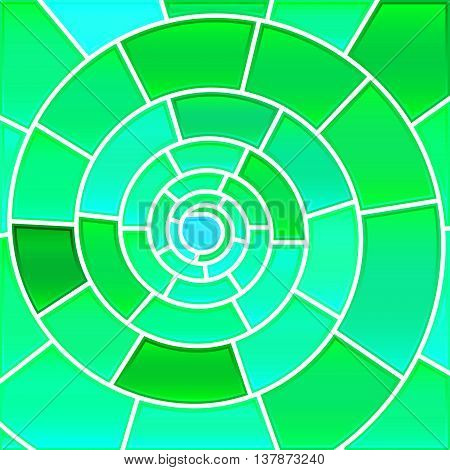abstract vector stained-glass mosaic background - green and teal spiral