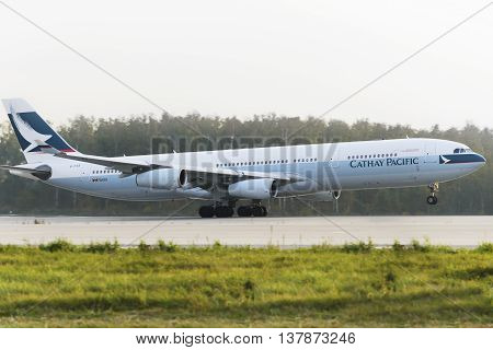 MOSCOW, RUSSIA - SEPTEMBER 26, 2014: Airbus A330 Cathay Pacific take off at Domodedovo international airport