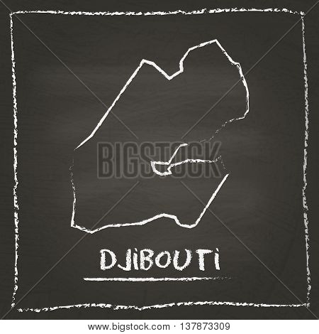 Djibouti Outline Vector Map Hand Drawn With Chalk On A Blackboard. Chalkboard Scribble In Childish S