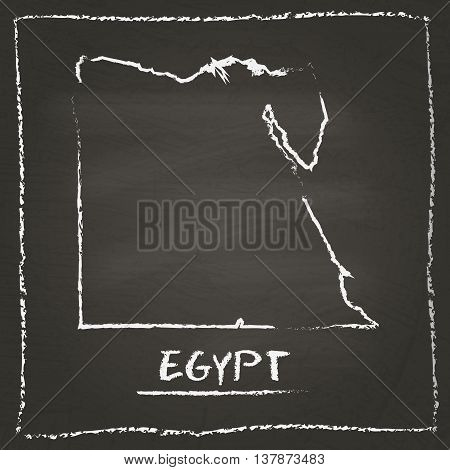 Egypt Outline Vector Map Hand Drawn With Chalk On A Blackboard. Chalkboard Scribble In Childish Styl