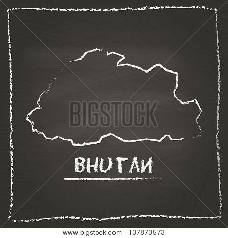 Bhutan Outline Vector Map Hand Drawn With Chalk On A Blackboard. Chalkboard Scribble In Childish Sty