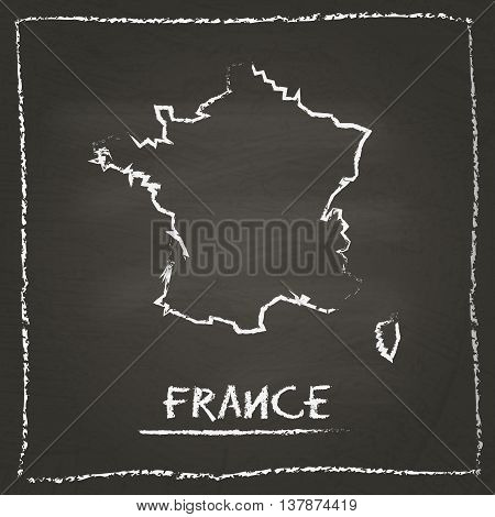 France Outline Vector Map Hand Drawn With Chalk On A Blackboard. Chalkboard Scribble In Childish Sty