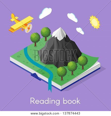Vector isometric concept for reading book. Open book with mountain and trees. Plane flying in the sky.
