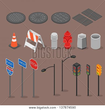 Isometric set icon of city objects. Isometric elements. Traffic light turn road sign sewerage lamp post urban city 3d vector.