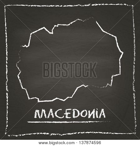 Macedonia, The Former Yugoslav Republic Of Outline Vector Map Hand Drawn With Chalk On A Blackboard.