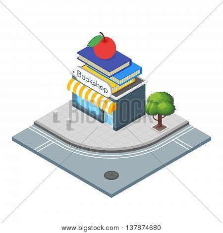 Isometric 3d vector illustration of book shop. Bookstore which sells good books. City landscape.