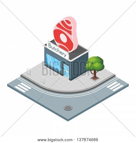 Isometric 3d vector illustration of butchers shop. Sell meat. City landscape.