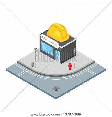 Isometric 3d vector illustration of hardware store. Builders shop that sells things that you need for building. City landscape.