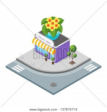 Isometric 3d vector illustration of patisserie. Shop that sells cakes and cupcakes. Big cupcake on the top of the shop. City landscape.