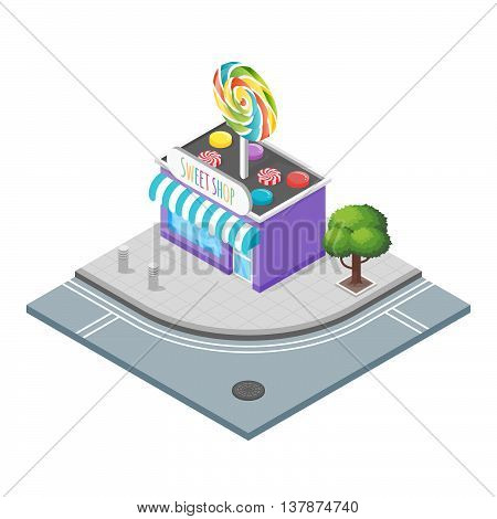 Isometric 3d vector illustration of candy store.