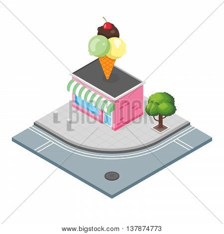 Isometric vector 3d illustration of ice cream shop. City landscape.