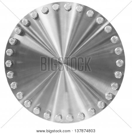 Shiny metal circle with bolts placed on the perimeter. Isolated on white background.