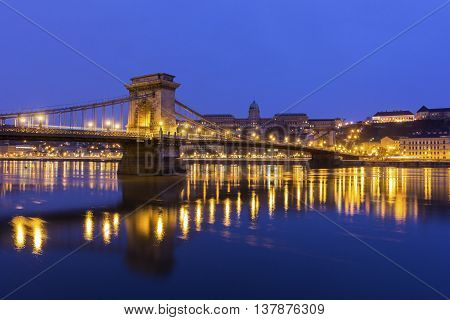 View on Buda Castle and Chain Bridge in Budapest Hungary