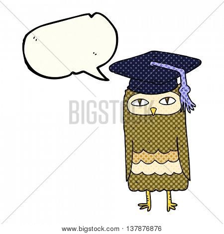 freehand drawn comic book speech bubble cartoon wise owl