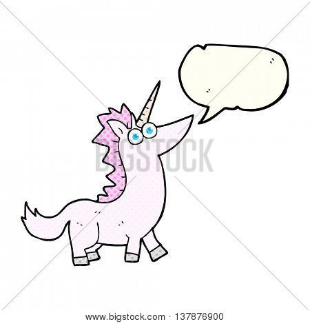 freehand drawn comic book speech bubble cartoon unicorn