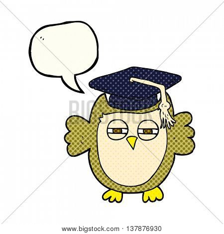freehand drawn comic book speech bubble cartoon clever owl