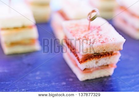 Sandwiches Canapes with fish. Shallow depth of field, fluorescent lighting.