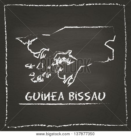 Guinea-bissau Outline Vector Map Hand Drawn With Chalk On A Blackboard. Chalkboard Scribble In Child