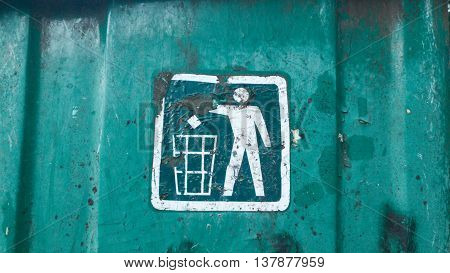 recycling bin sign. old metal dirty rusty