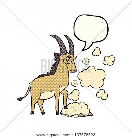 freehand drawn comic book speech bubble cartoon antelope