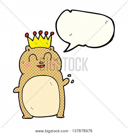 freehand drawn comic book speech bubble cartoon waving hamster