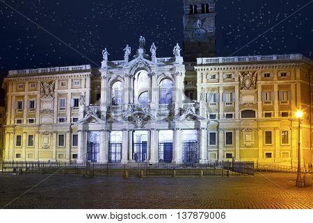Italy. Rome. Basilica of Santa Maria maggiore at Night illumination